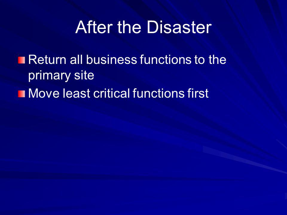 After the Disaster Return all business functions to the primary site