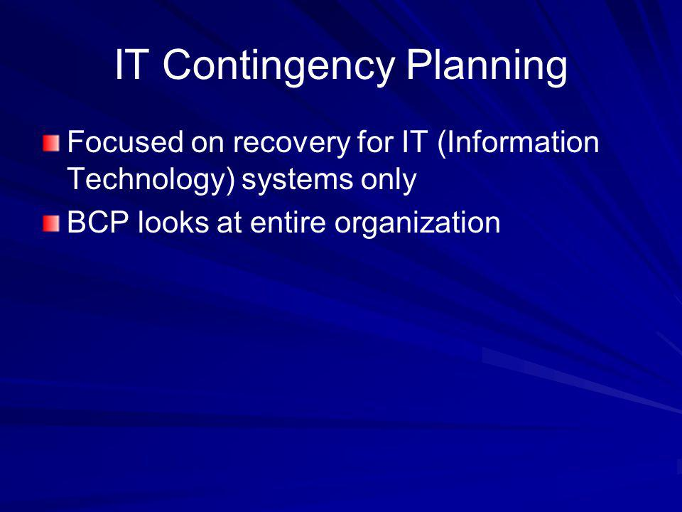 IT Contingency Planning