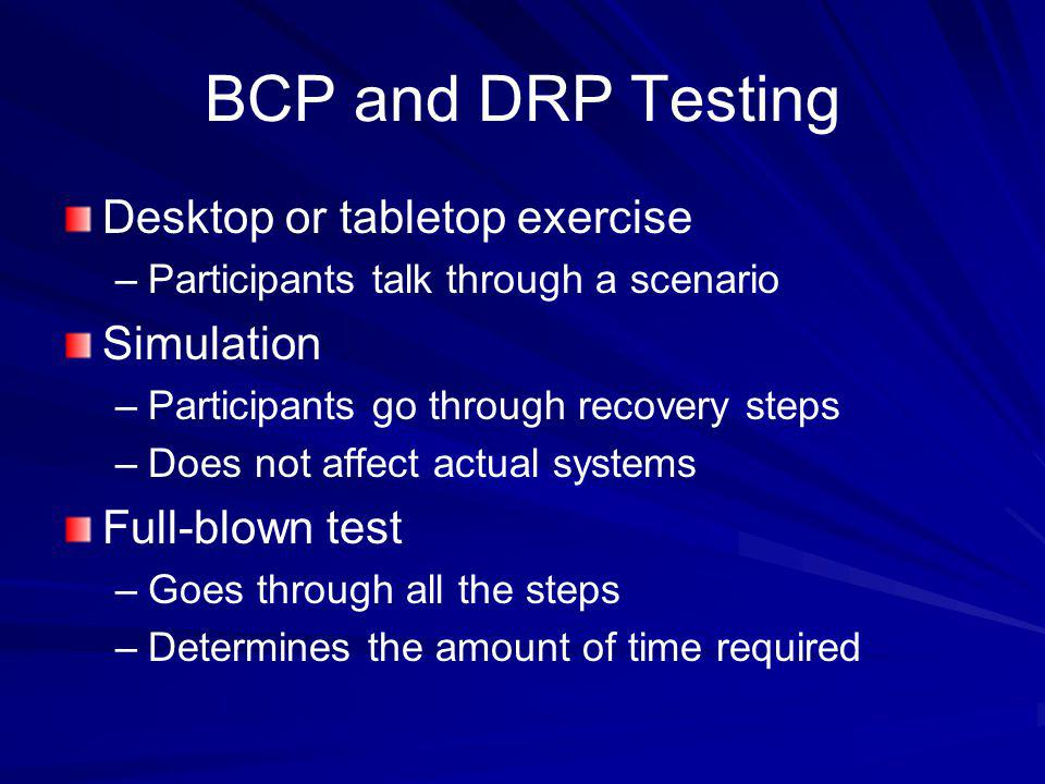 BCP and DRP Testing Desktop or tabletop exercise Simulation