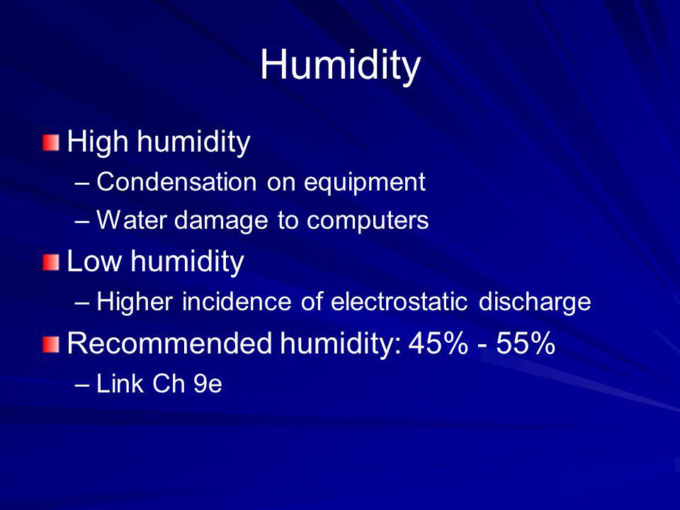 Humidity High humidity Low humidity Recommended humidity: 45% - 55%
