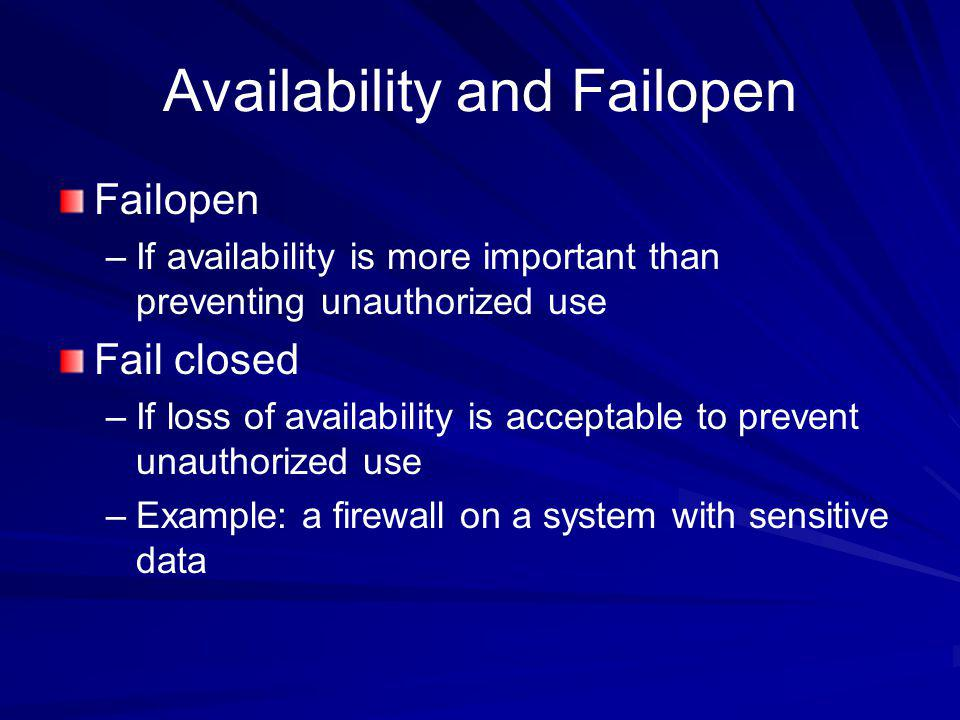 Availability and Failopen