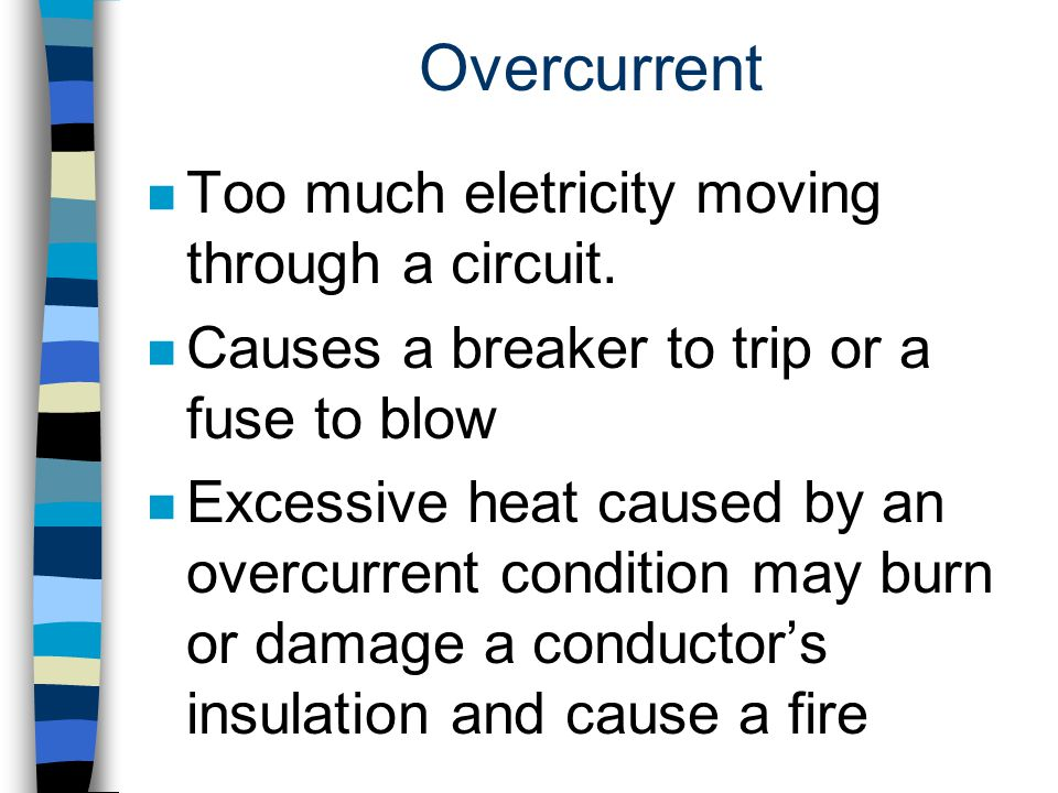 Overcurrent Too much eletricity moving through a circuit.
