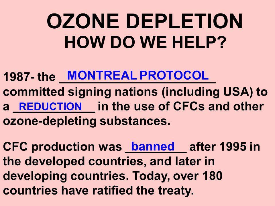 OZONE DEPLETION MONTREAL PROTOCOL