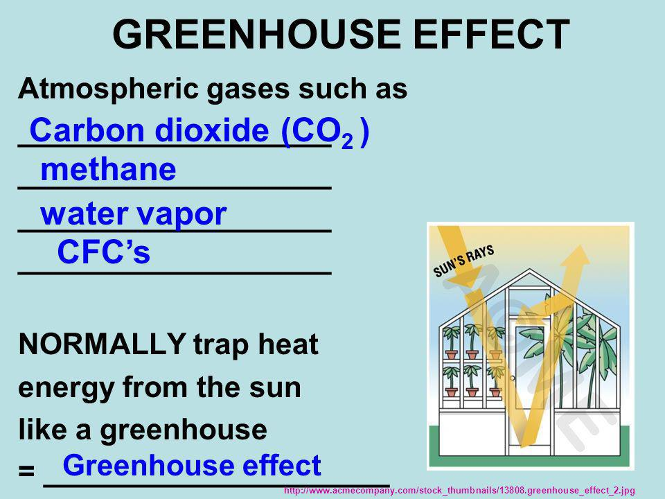 GREENHOUSE EFFECT Carbon dioxide (CO2 ) methane water vapor CFC's