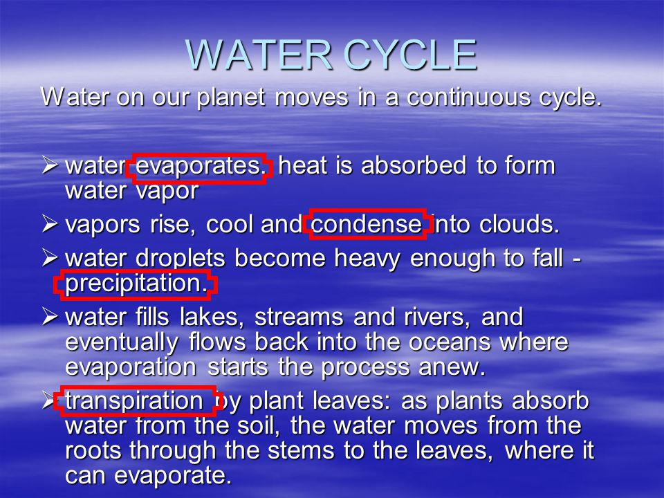 WATER CYCLE Water on our planet moves in a continuous cycle.