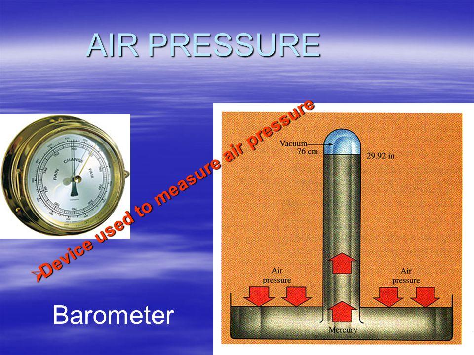 AIR PRESSURE Device used to measure air pressure Barometer