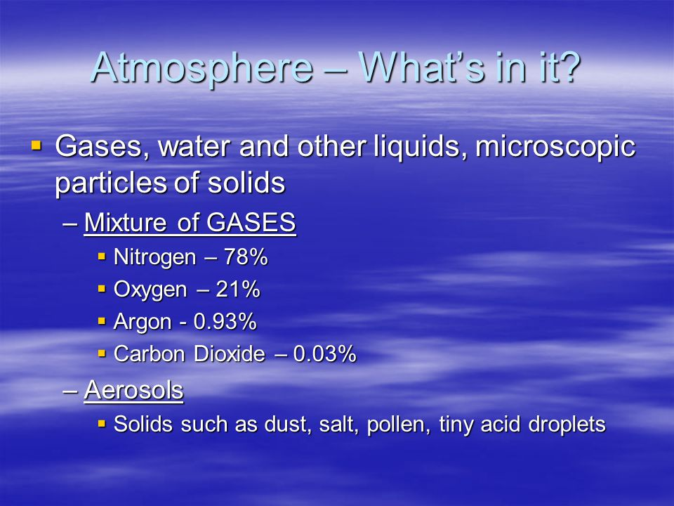 Atmosphere – What's in it