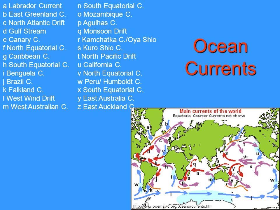 Ocean Currents a Labrador Current b East Greenland C.