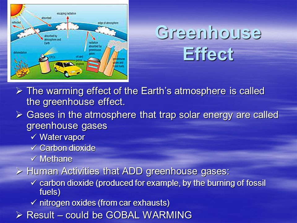 Greenhouse Effect The warming effect of the Earth's atmosphere is called the greenhouse effect.