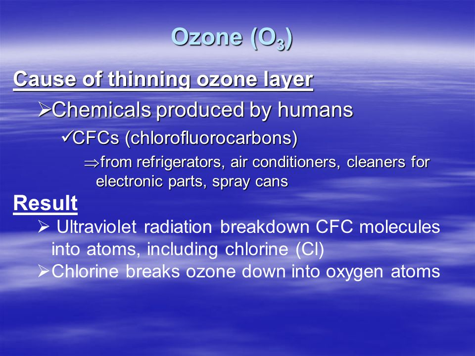 Ozone (O3) Cause of thinning ozone layer Chemicals produced by humans