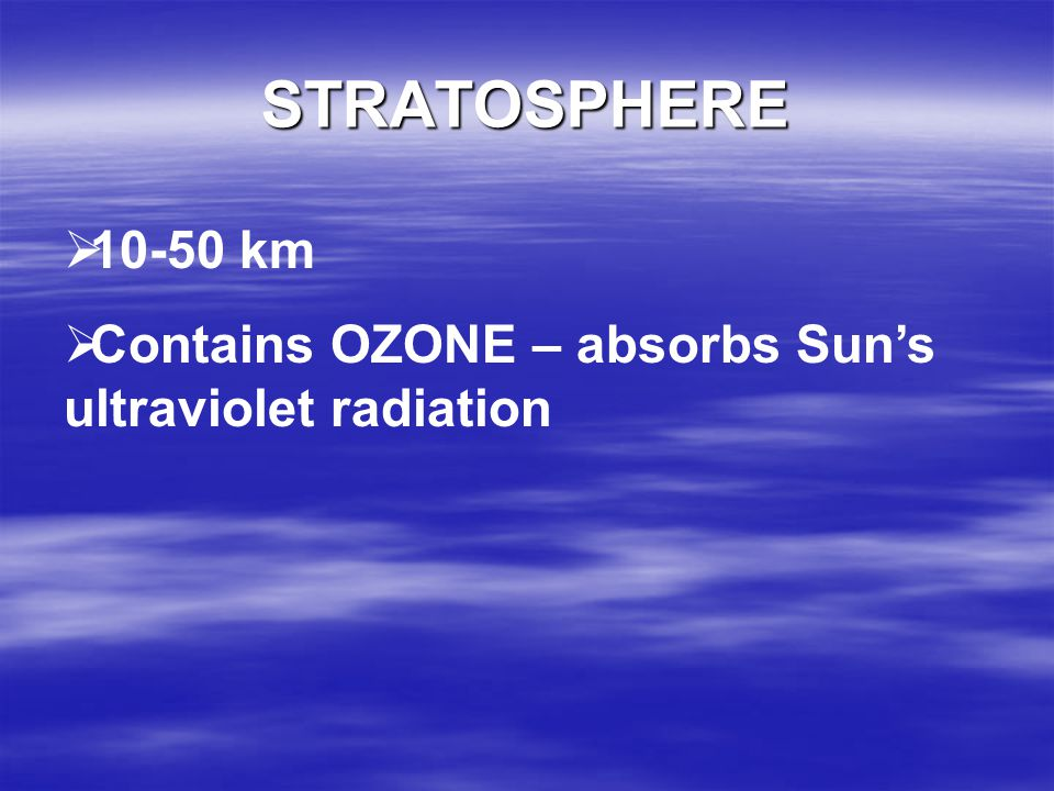 STRATOSPHERE 10-50 km Contains OZONE – absorbs Sun's ultraviolet radiation