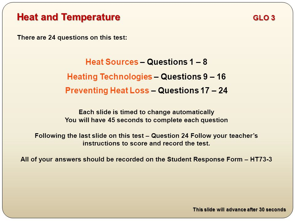 Heat and Temperature GLO 3