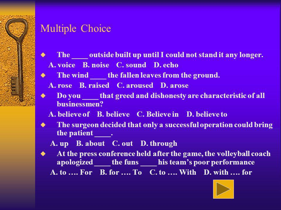 Multiple Choice The ____ outside built up until I could not stand it any longer. A. voice B. noise C. sound D. echo.