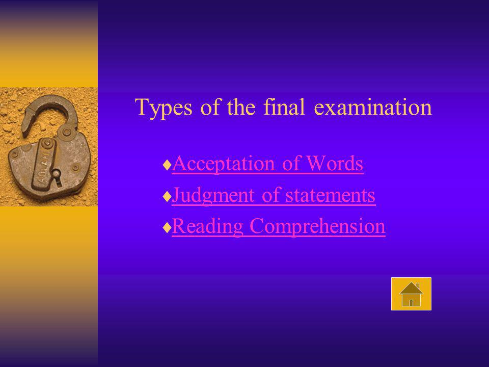 Types of the final examination