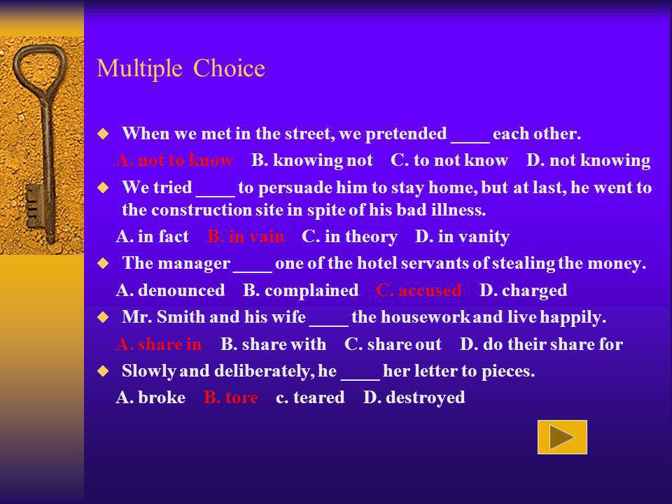 Multiple Choice When we met in the street, we pretended ____ each other. A. not to know B. knowing not C. to not know D. not knowing.