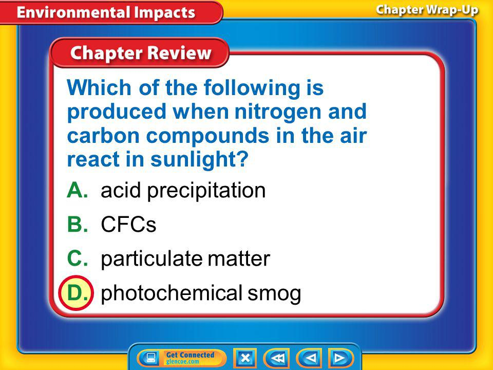 Which of the following is produced when nitrogen and carbon compounds in the air react in sunlight