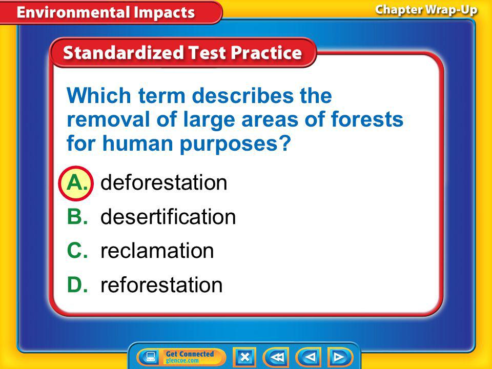 Which term describes the removal of large areas of forests for human purposes