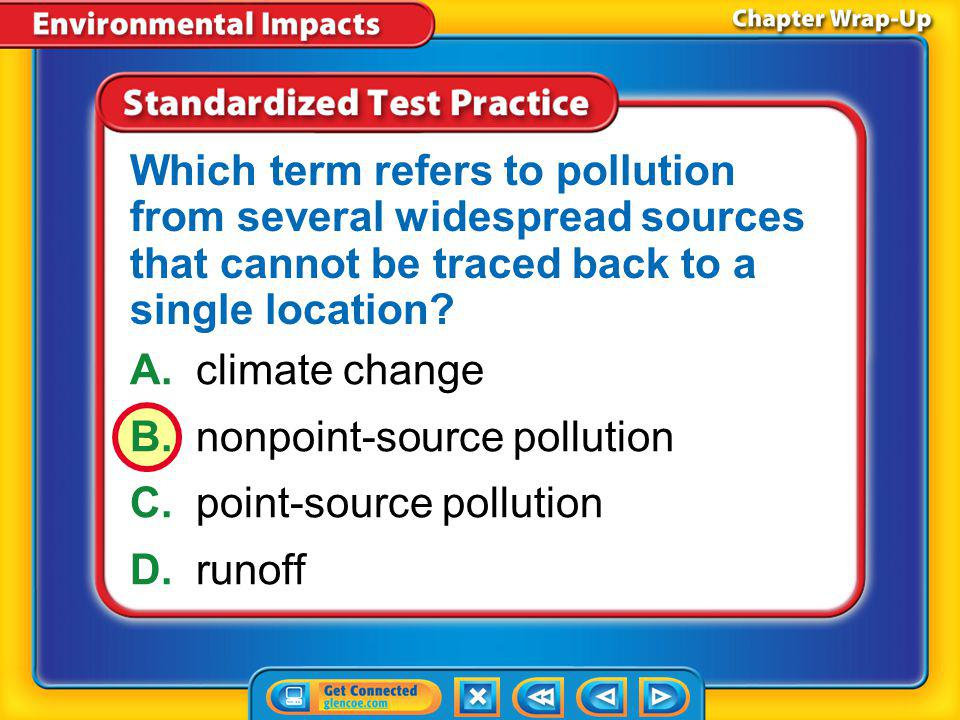 B. nonpoint-source pollution C. point-source pollution D. runoff