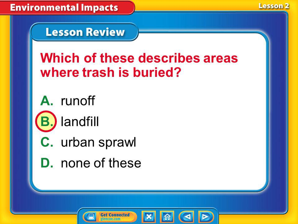 Which of these describes areas where trash is buried