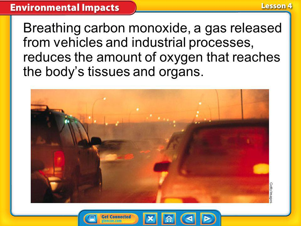 Breathing carbon monoxide, a gas released from vehicles and industrial processes, reduces the amount of oxygen that reaches the body's tissues and organs.