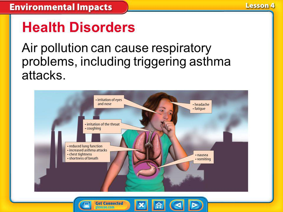 Health Disorders Air pollution can cause respiratory problems, including triggering asthma attacks.