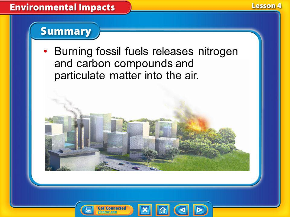 Burning fossil fuels releases nitrogen and carbon compounds and particulate matter into the air.