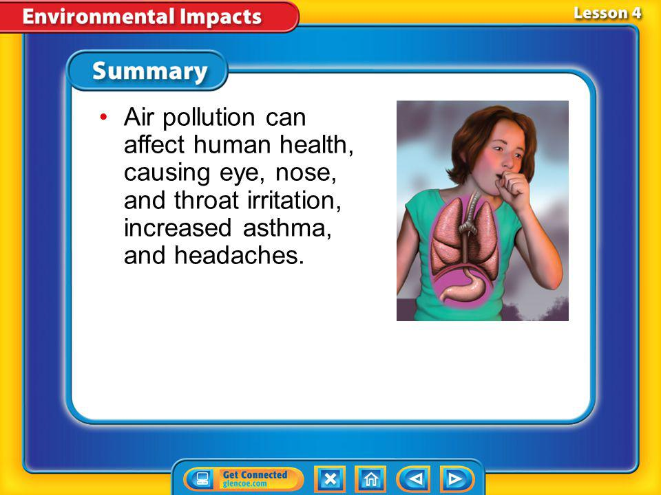Air pollution can affect human health, causing eye, nose, and throat irritation, increased asthma, and headaches.