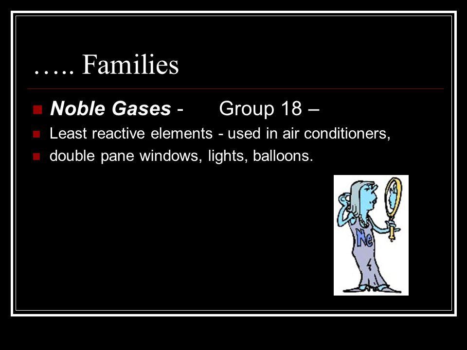 ….. Families Noble Gases - Group 18 –