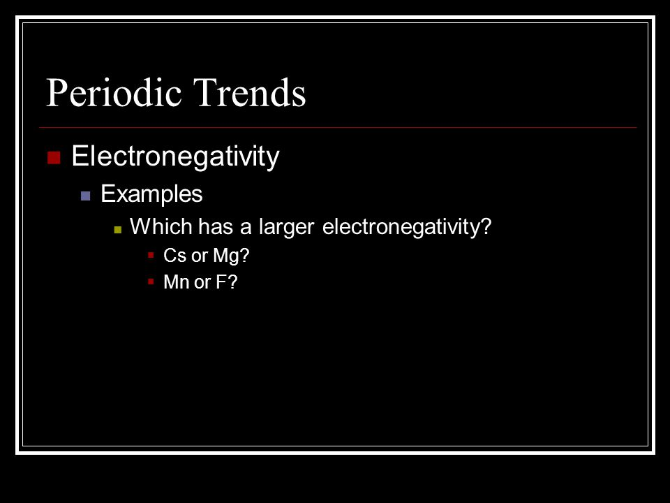 Periodic Trends Electronegativity Examples