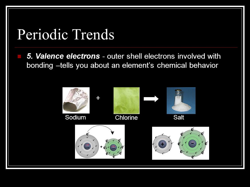 Periodic Trends 5. Valence electrons - outer shell electrons involved with bonding –tells you about an element's chemical behavior.
