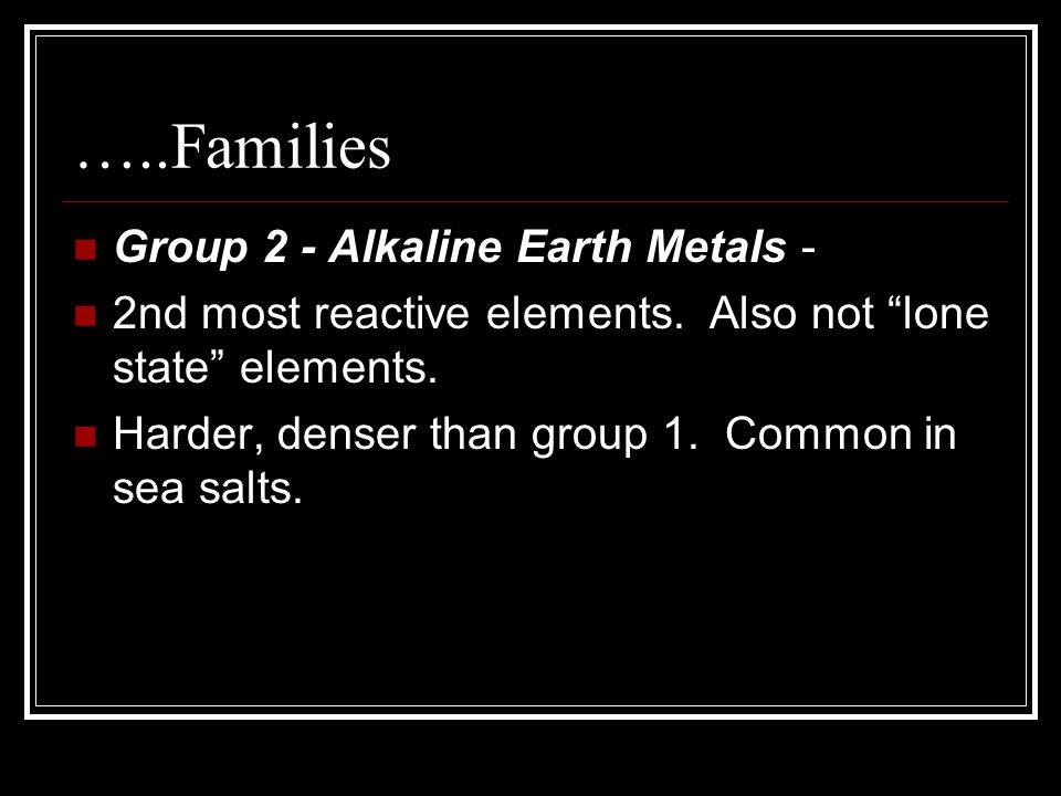 …..Families Group 2 - Alkaline Earth Metals -