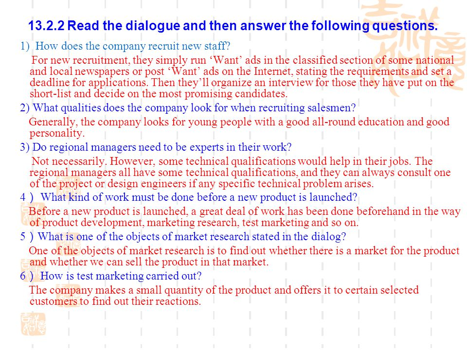 13.2.2 Read the dialogue and then answer the following questions.