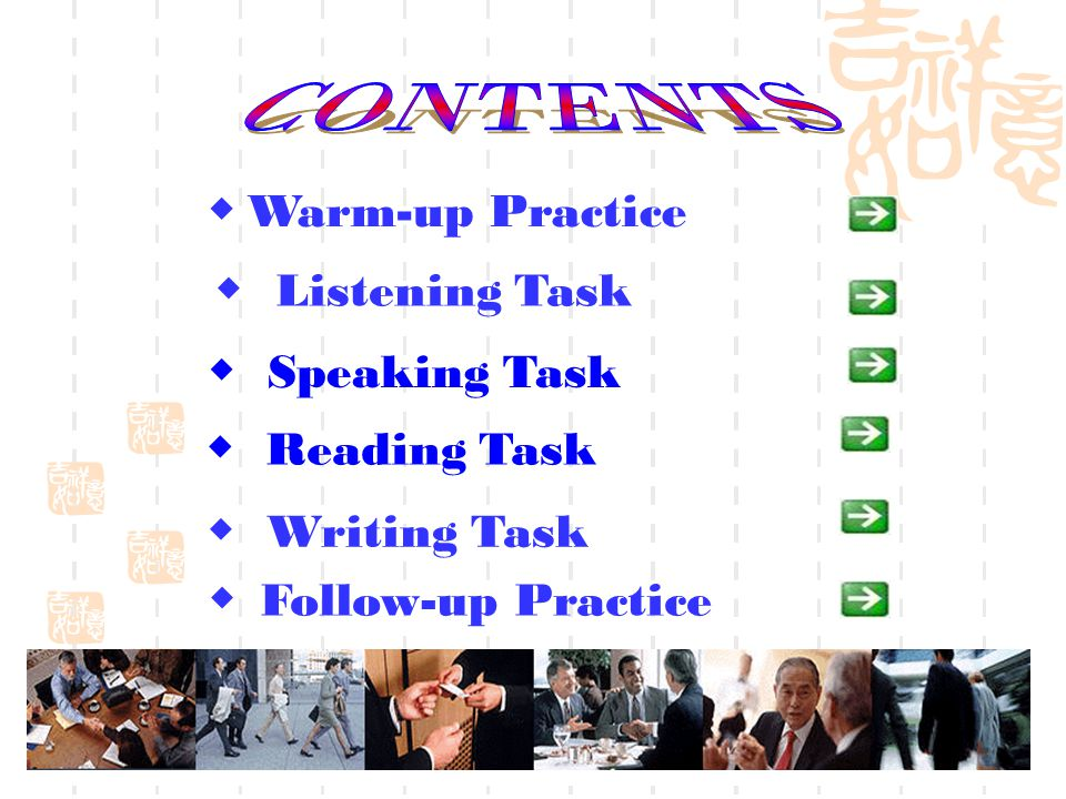 CONTENTS ◆ Warm-up Practice ◆ Listening Task ◆ Speaking Task