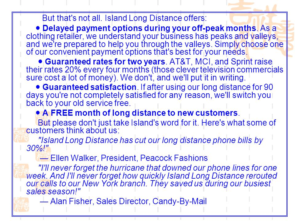 But that s not all. Island Long Distance offers: