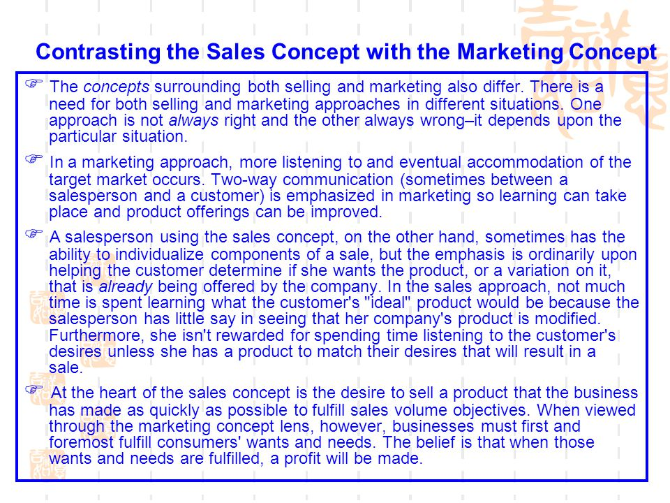 Contrasting the Sales Concept with the Marketing Concept