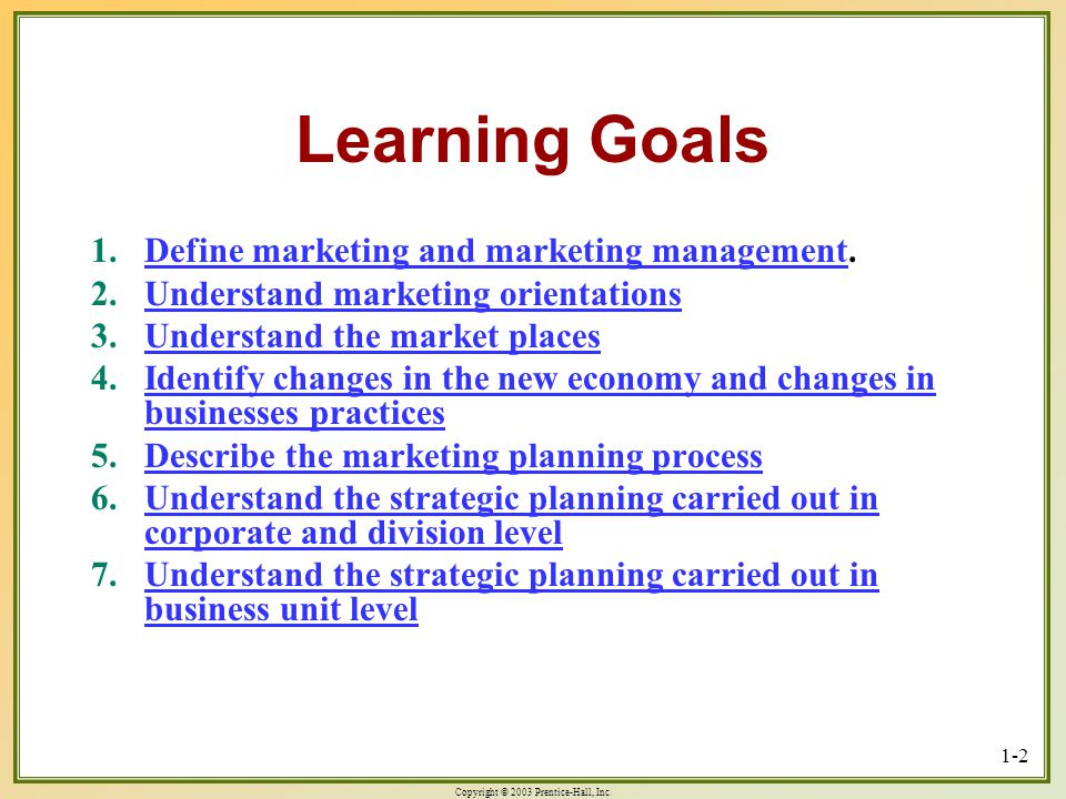 Learning Goals Define marketing and marketing management.