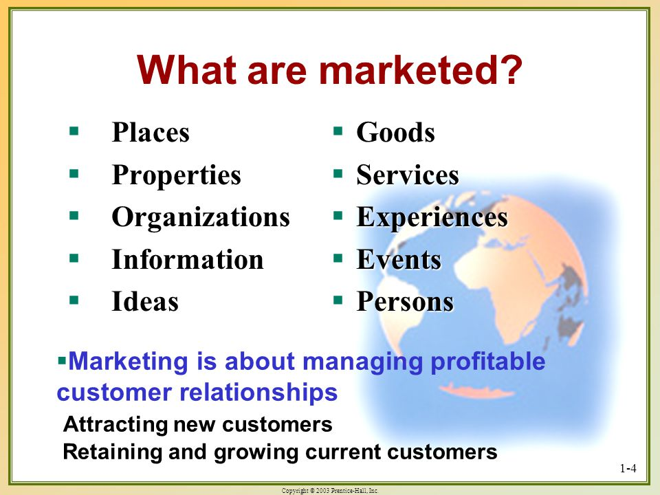 What are marketed Places Properties Organizations Information Ideas