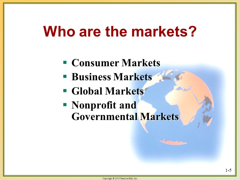 Who are the markets Consumer Markets Business Markets Global Markets
