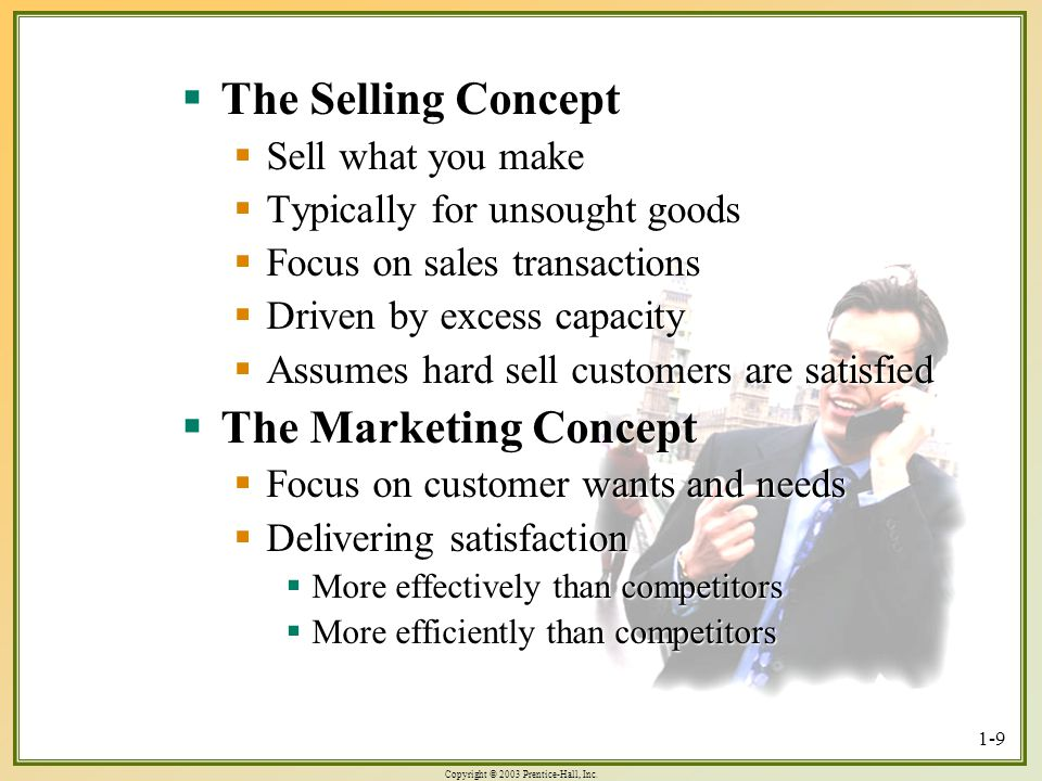 The Selling Concept The Marketing Concept Sell what you make