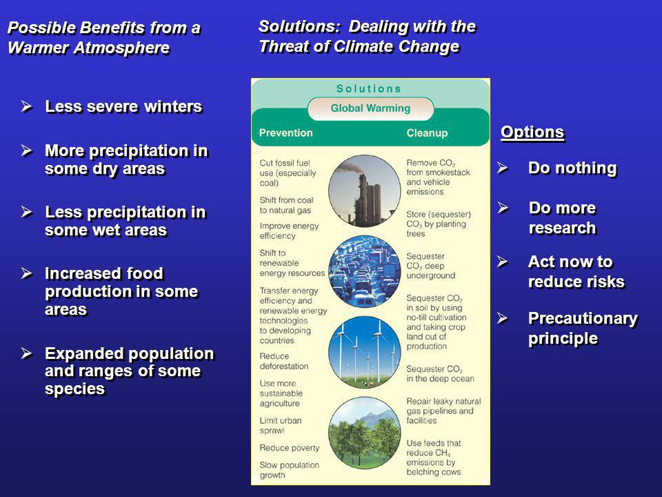 Possible Benefits from a Warmer Atmosphere