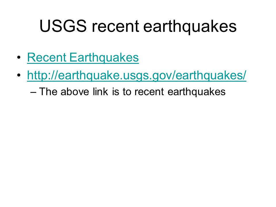 USGS recent earthquakes