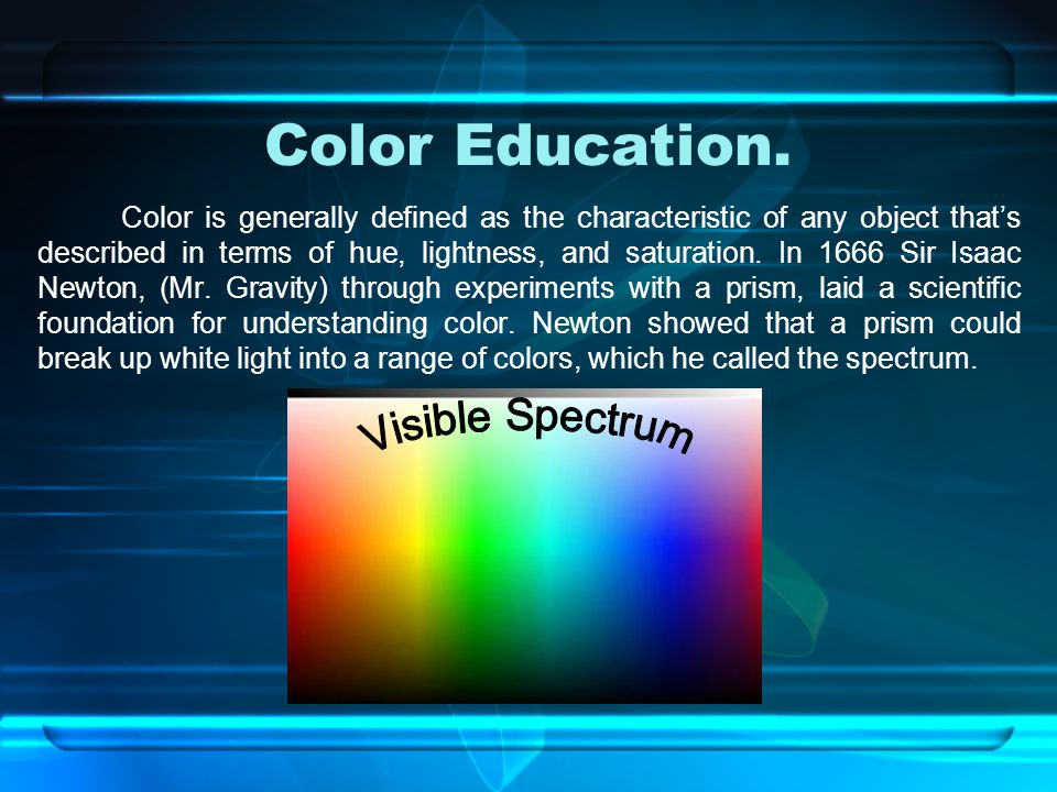 Color Education. Visible Spectrum