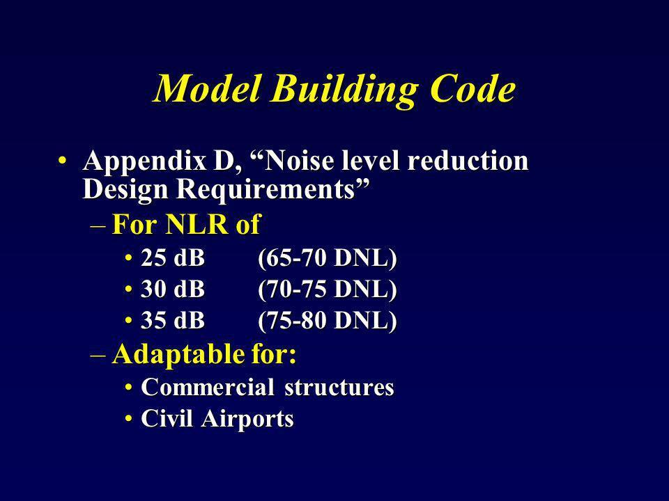 Model Building Code Appendix D, Noise level reduction Design Requirements For NLR of. 25 dB (65-70 DNL)