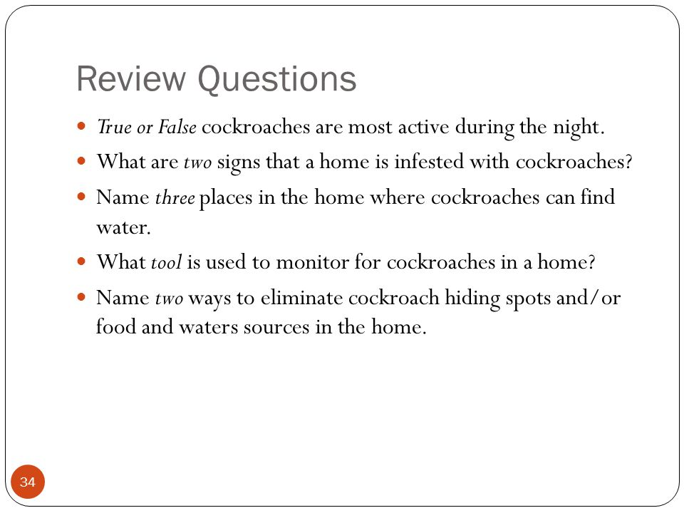 Review Questions True or False cockroaches are most active during the night. What are two signs that a home is infested with cockroaches