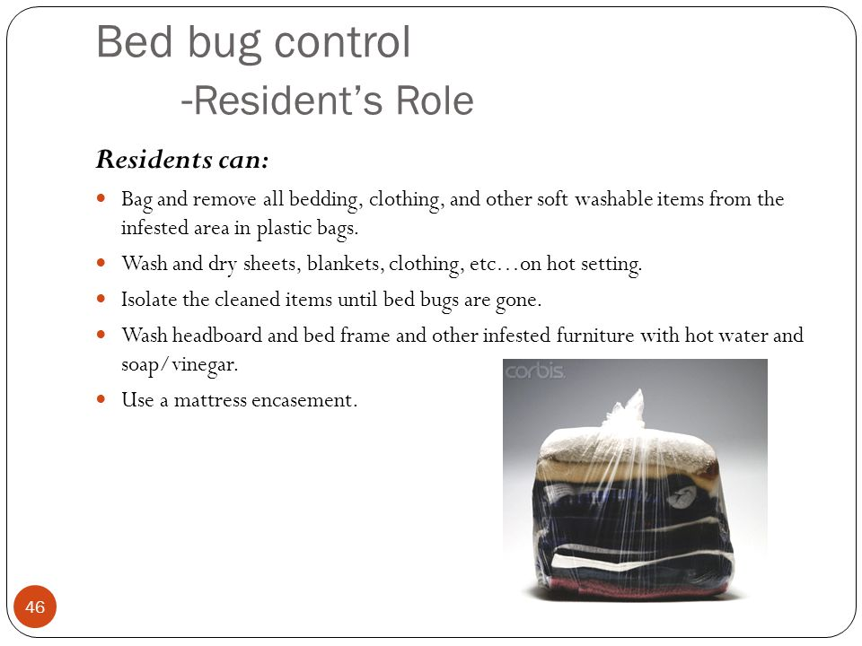 Bed bug control -Resident's Role
