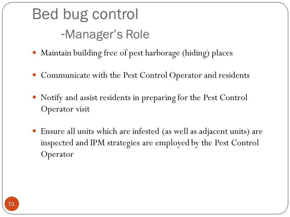 Bed bug control -Manager's Role