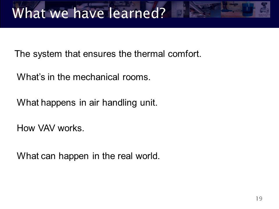 What we have learned The system that ensures the thermal comfort.