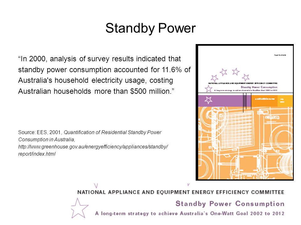 Standby Power In 2000, analysis of survey results indicated that