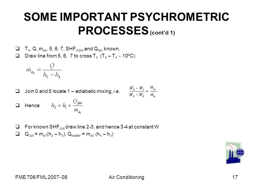SOME IMPORTANT PSYCHROMETRIC PROCESSES (cont'd 1)