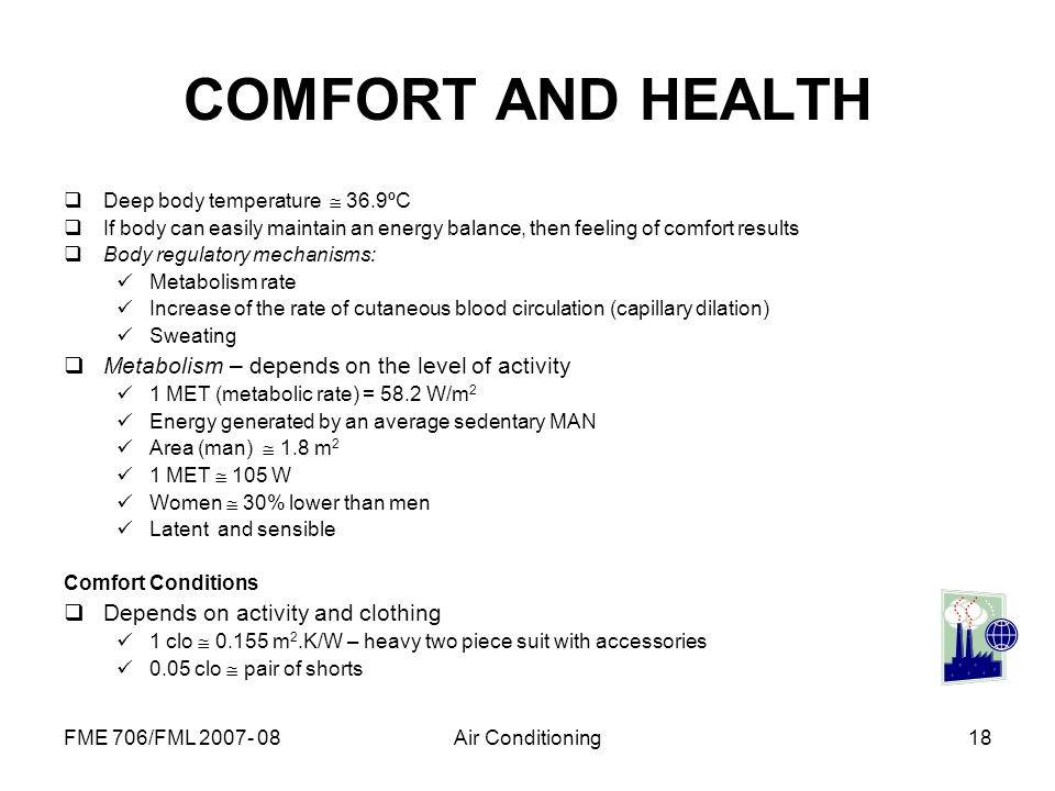 COMFORT AND HEALTH Metabolism – depends on the level of activity
